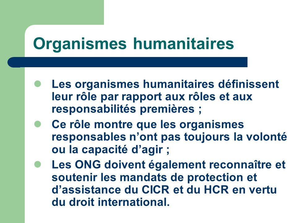 Organismes humanitaires Les organismes humanitaires définissent leur rôle par rapport aux rôles et aux responsabilités premières ; Ce rôle montre que les organismes responsables nont pas toujours la volonté ou la capacité dagir ; Les ONG doivent également reconnaître et soutenir les mandats de protection et dassistance du CICR et du HCR en vertu du droit international.