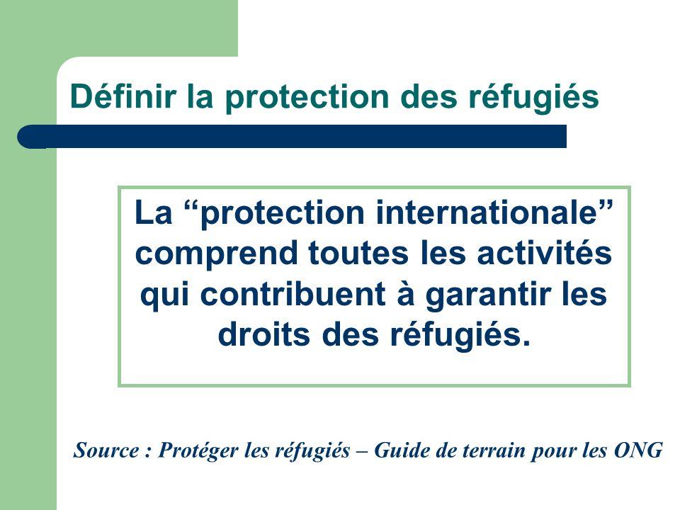 Définir la protection des réfugiés La protection internationale comprend toutes les activités qui contribuent à garantir les droits des réfugiés. Sour