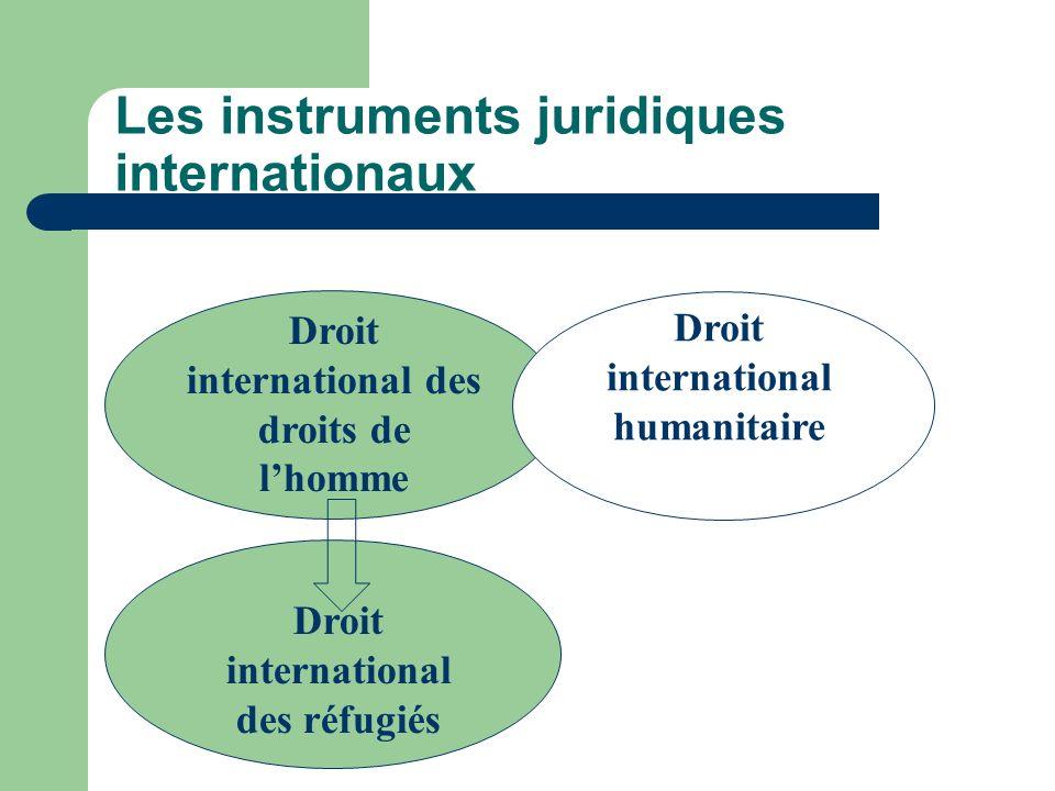 Les instruments juridiques internationaux Droit international des droits de lhomme Droit international des réfugiés Droit international humanitaire
