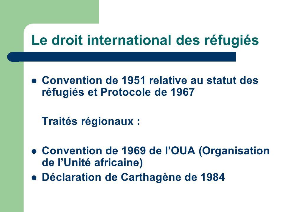 Le droit international des réfugiés Convention de 1951 relative au statut des réfugiés et Protocole de 1967 Traités régionaux : Convention de 1969 de lOUA (Organisation de lUnité africaine) Déclaration de Carthagène de 1984