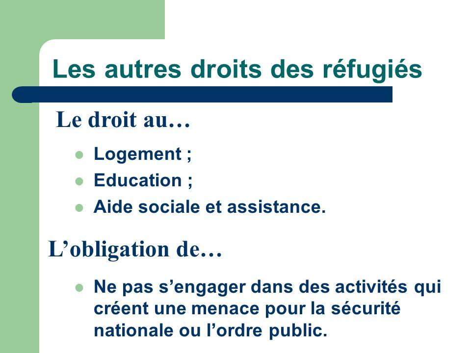 Les autres droits des réfugiés Logement ; Education ; Aide sociale et assistance. Ne pas sengager dans des activités qui créent une menace pour la séc