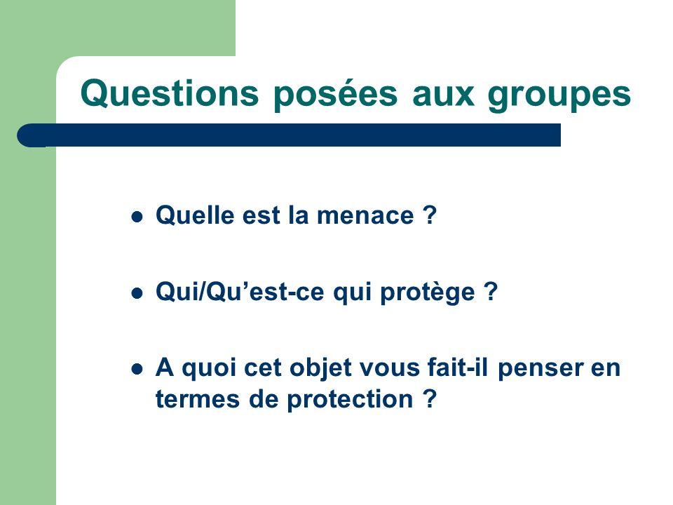 Questions posées aux groupes Quelle est la menace ? Qui/Quest-ce qui protège ? A quoi cet objet vous fait-il penser en termes de protection ?