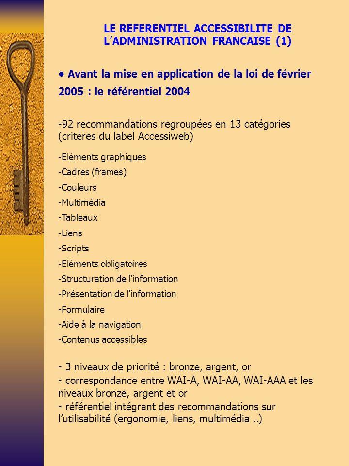 LE REFERENTIEL ACCESSIBILITE DE LADMINISTRATION FRANCAISE (2) Le nouveau référentiel RGAA - Concerne tous les services de communication publique de l Etat, des collectivités territoriales et des établissements publics - Parution du RGAA canal Web en mai 2007 après un appel à commentaires restreints - RGAA reprenant les 14 directives du WCAG 1.0 (65 points de contrôle) -Intégration des tests développés dans le cadre de la méthode européenne UWEM et prise en compte des évolutions du WCAG 2.0 -Liste des tests prévus sur 3 années - Structure dune fiche RGAA: partie description, mise en œuvre et évaluation - Certains points de contrôle WCAG 1.0 (1999) abandonnés car obsolètes - Déroulement des tests dévaluation
