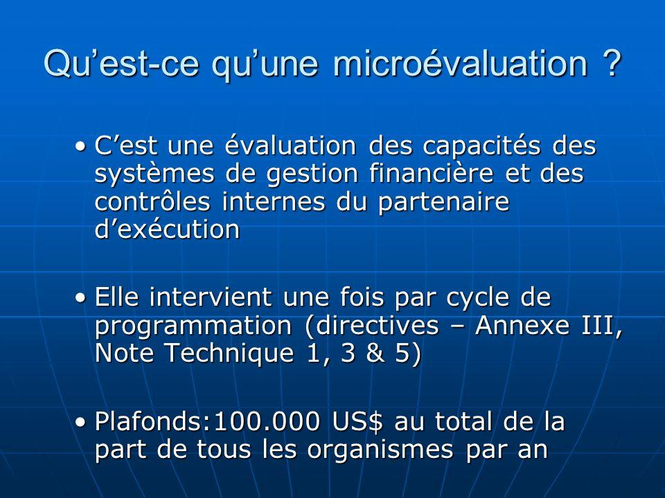 Quest-ce quune microévaluation ? Cest une évaluation des capacités des systèmes de gestion financière et des contrôles internes du partenaire dexécuti