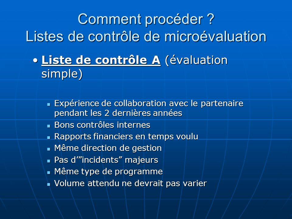 Comment procéder ? Listes de contrôle de microévaluation Liste de contrôle A (évaluation simple)Liste de contrôle A (évaluation simple) Expérience de