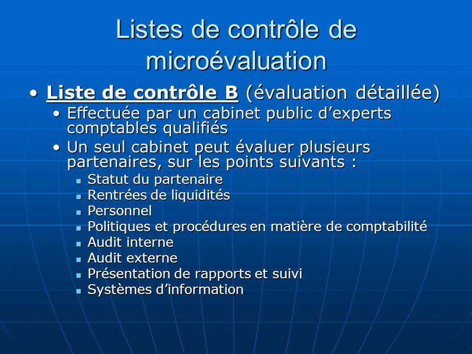 Listes de contrôle de microévaluation Liste de contrôle B (évaluation détaillée)Liste de contrôle B (évaluation détaillée) Effectuée par un cabinet pu