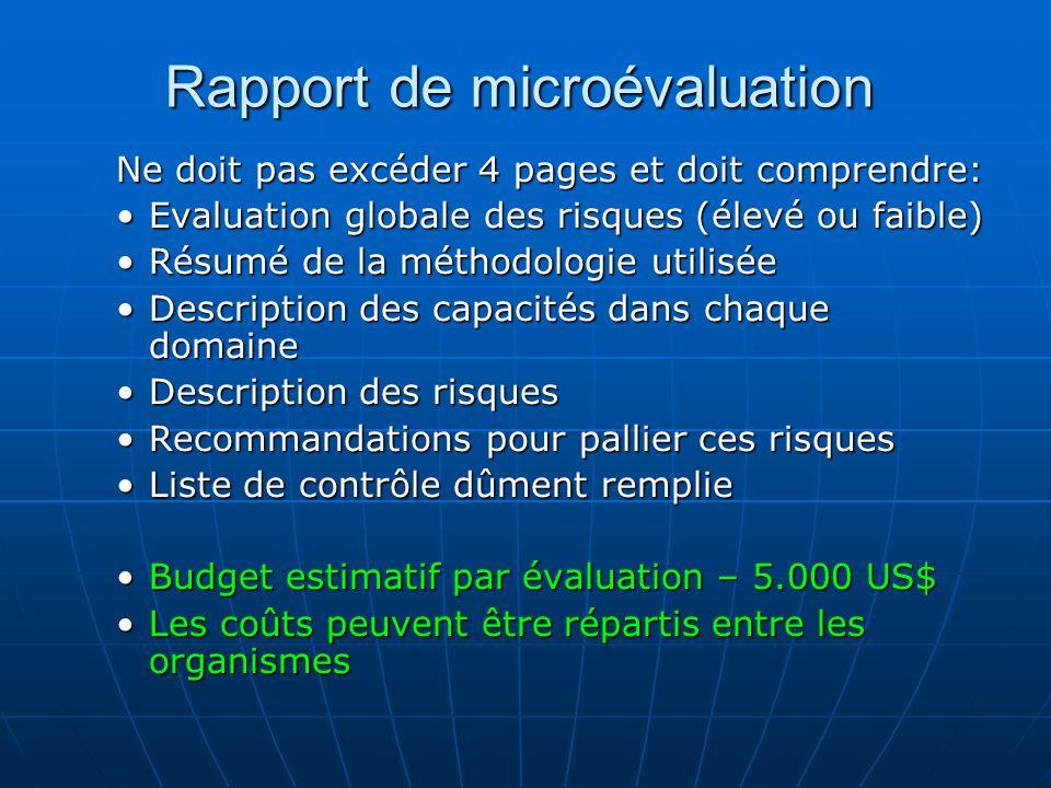 Rapport de microévaluation Ne doit pas excéder 4 pages et doit comprendre: Evaluation globale des risques (élevé ou faible)Evaluation globale des risq