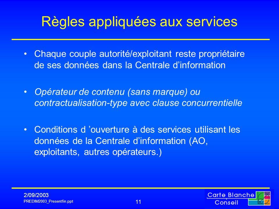 PREDIM2003_Presentfin.ppt 2/09/2003 11 Règles appliquées aux services Chaque couple autorité/exploitant reste propriétaire de ses données dans la Cent