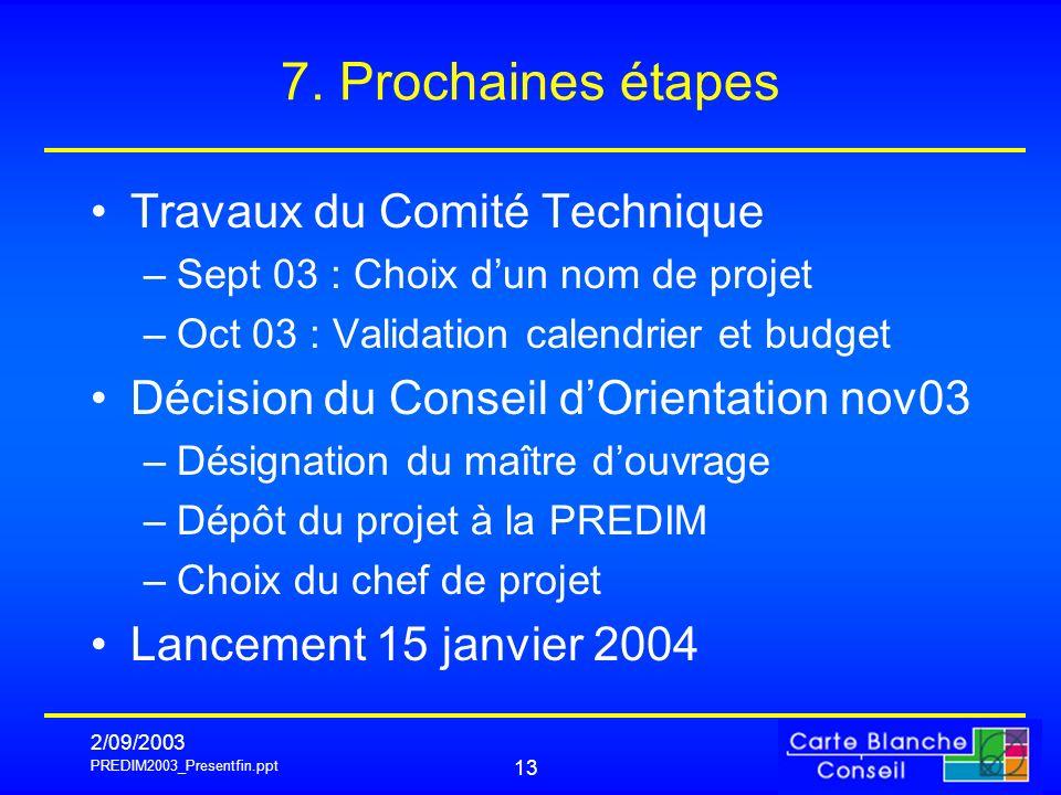 PREDIM2003_Presentfin.ppt 2/09/2003 13 7. Prochaines étapes Travaux du Comité Technique –Sept 03 : Choix dun nom de projet –Oct 03 : Validation calend