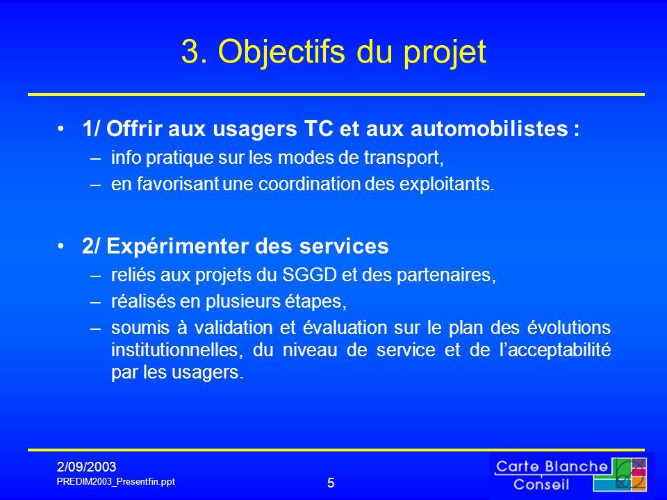 PREDIM2003_Presentfin.ppt 2/09/2003 5 3. Objectifs du projet 1/ Offrir aux usagers TC et aux automobilistes : –info pratique sur les modes de transpor