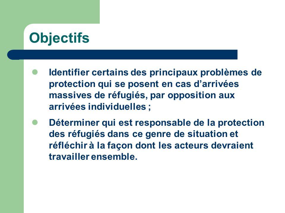 Objectifs Identifier certains des principaux problèmes de protection qui se posent en cas darrivées massives de réfugiés, par opposition aux arrivées