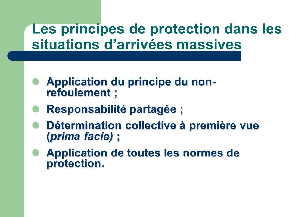 Les principes de protection dans les situations darrivées massives Application du principe du non- refoulement ; Application du principe du non- refou
