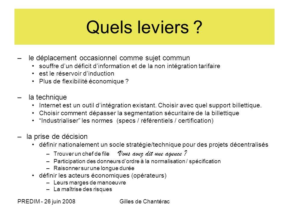 PREDIM - 26 juin 2008Gilles de Chantérac – le déplacement occasionnel comme sujet commun souffre dun déficit dinformation et de la non intégration tar