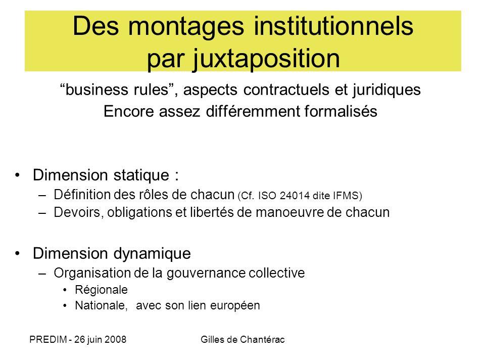 PREDIM - 26 juin 2008Gilles de Chantérac Des montages institutionnels par juxtaposition business rules, aspects contractuels et juridiques Encore asse