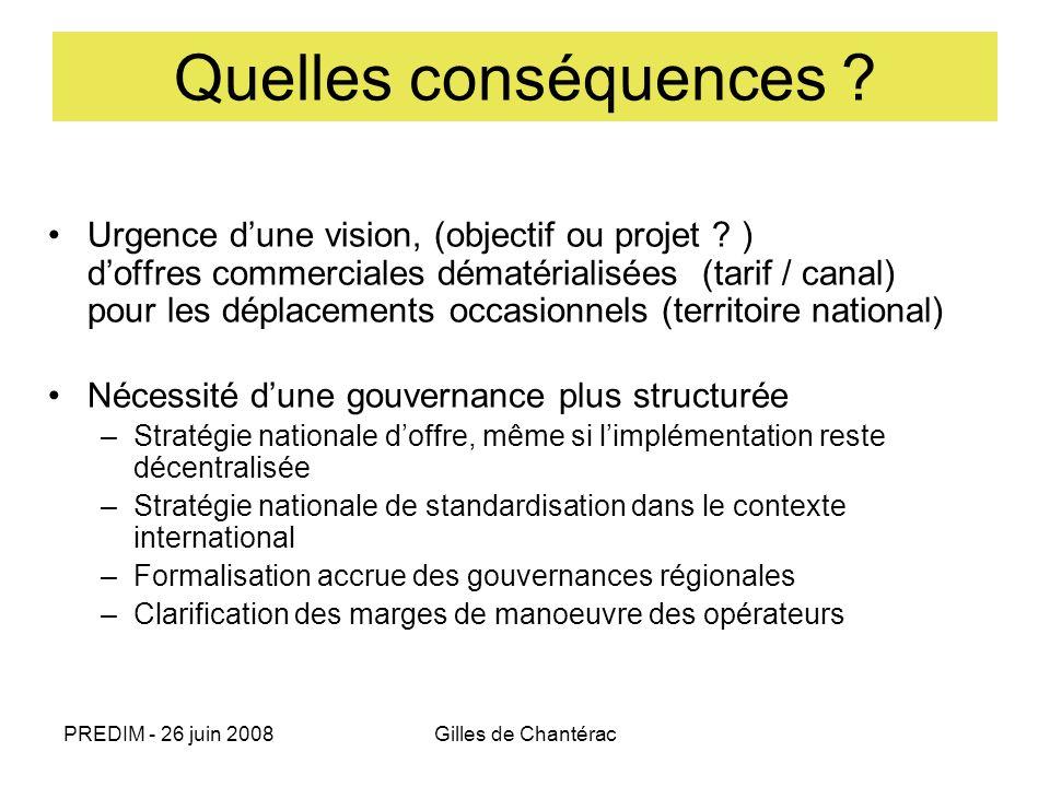 PREDIM - 26 juin 2008Gilles de Chantérac Quelles conséquences ? Urgence dune vision, (objectif ou projet ? ) doffres commerciales dématérialisées (tar