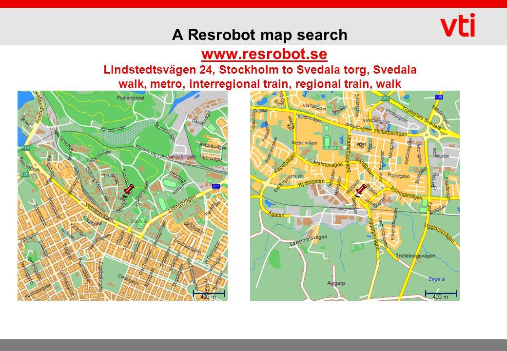 A Resrobot map search www.resrobot.se Lindstedtsvägen 24, Stockholm to Svedala torg, Svedala walk, metro, interregional train, regional train, walkwww.resrobot.se