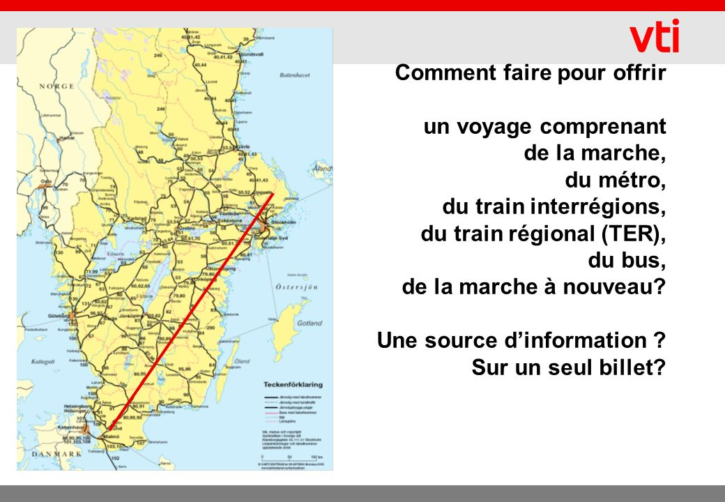 Objectifs du Plan Samtrafiken Proposer au voyageur un trajet complet ou un trajet de A à C – avec un changement en B – quel que soit le mode, lautorité de transport ou lopérateur– comprenant une correspondance garantie.