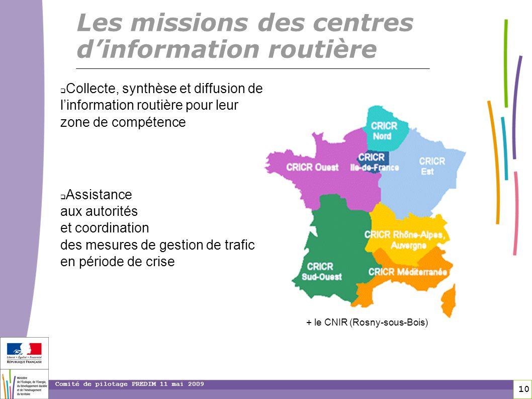 10 10 Comité de pilotage PREDIM 11 mai 2009 Collecte, synthèse et diffusion de linformation routière pour leur zone de compétence Assistance aux autor