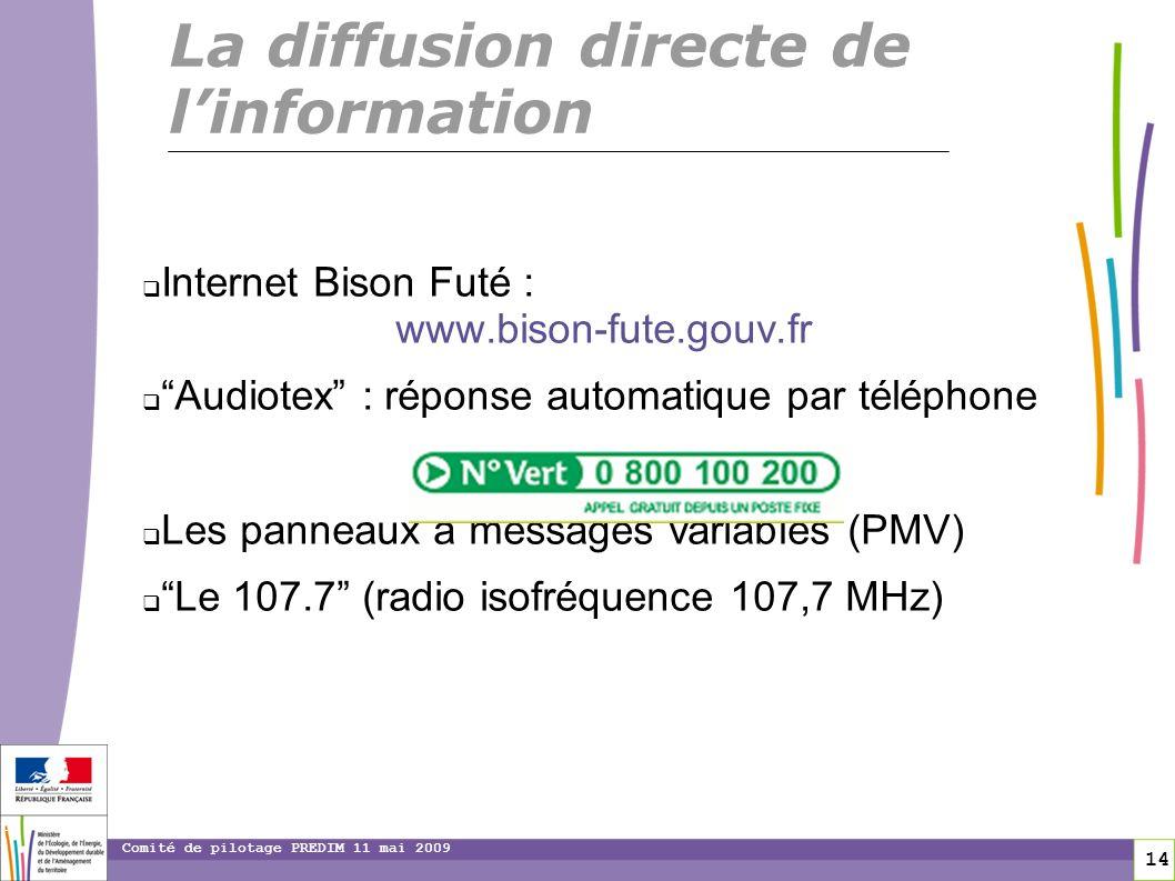 14 14 Comité de pilotage PREDIM 11 mai 2009 Internet Bison Futé : www.bison-fute.gouv.fr Audiotex : réponse automatique par téléphone Les panneaux à m