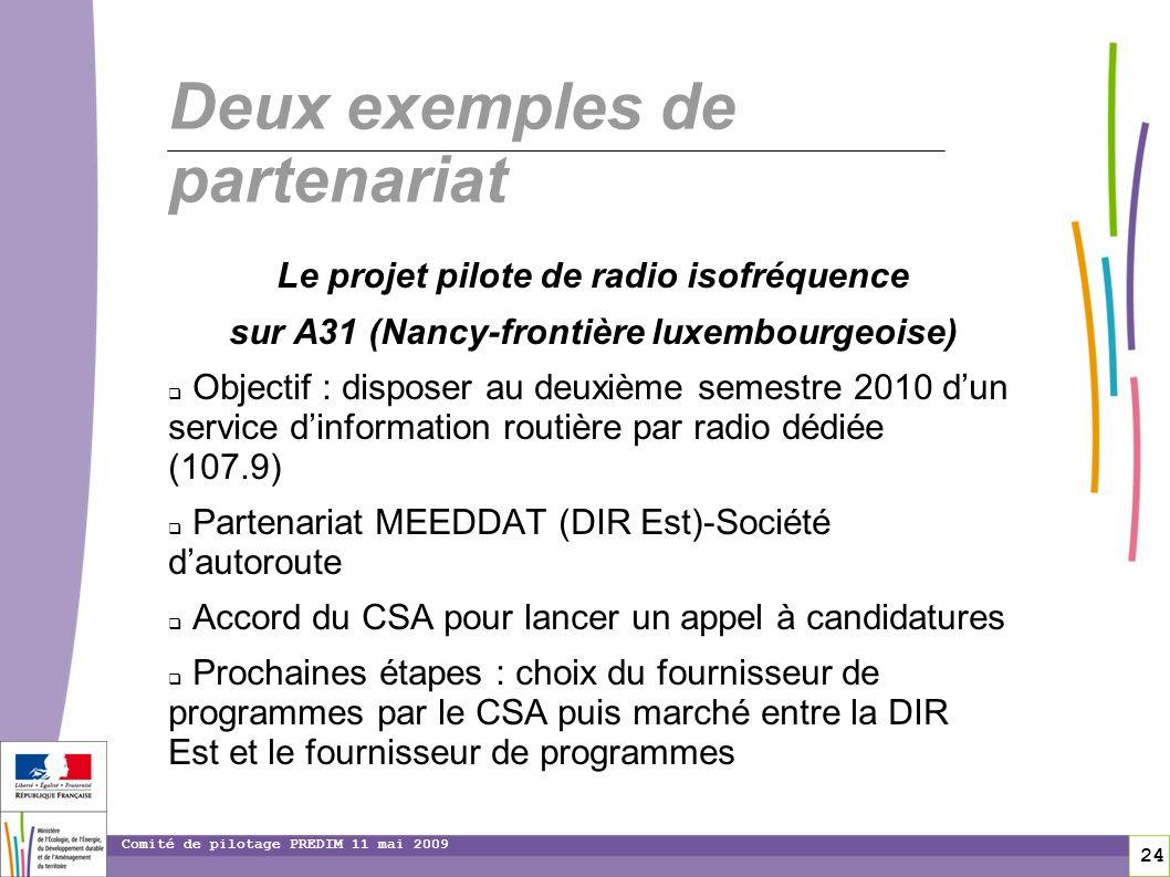 24 Comité de pilotage PREDIM 11 mai 2009 Deux exemples de partenariat Le projet pilote de radio isofréquence sur A31 (Nancy-frontière luxembourgeoise)
