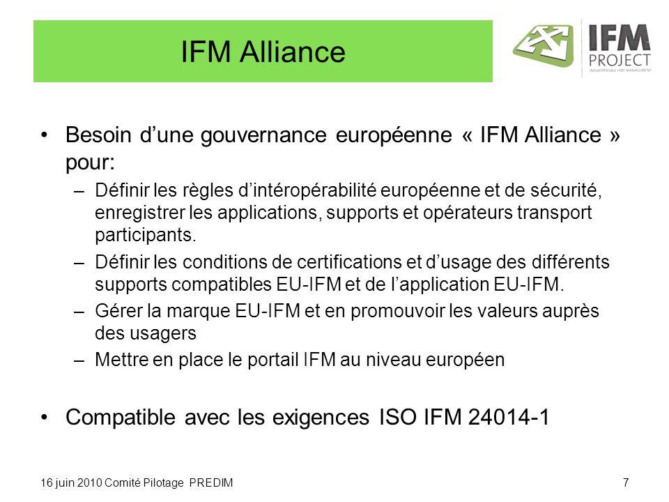 IFM Alliance Besoin dune gouvernance européenne « IFM Alliance » pour: –Définir les règles dintéropérabilité européenne et de sécurité, enregistrer les applications, supports et opérateurs transport participants.