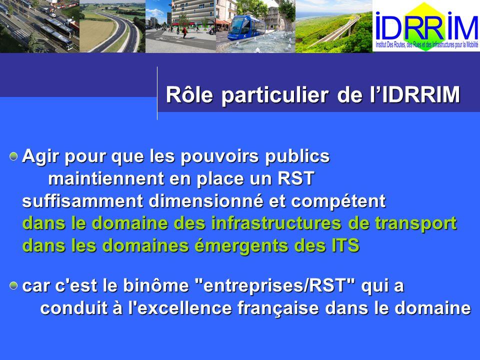 Rôle particulier de lIDRRIM Agir pour que les pouvoirs publics maintiennent en place un RST maintiennent en place un RST suffisamment dimensionné et c
