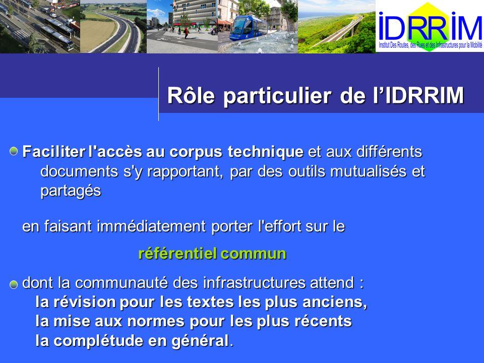 Rôle particulier de lIDRRIM Faciliter l'accès au corpus technique et aux différents documents s'y rapportant, par des outils mutualisés et partagés en