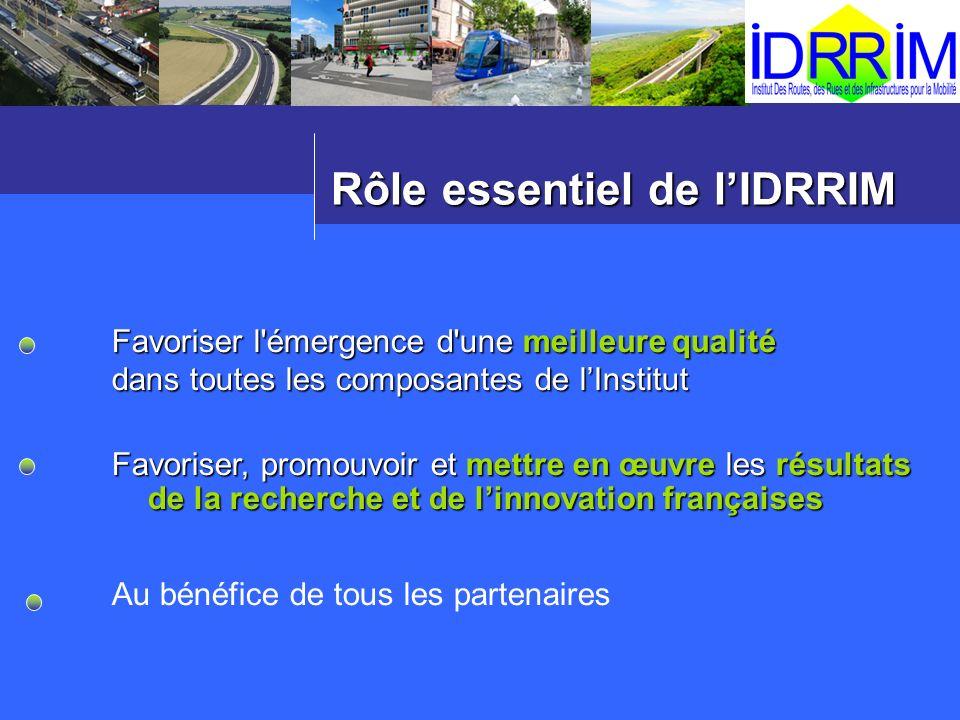 Rôle essentiel de lIDRRIM Favoriser l'émergence d'une meilleure qualité dans toutes les composantes de lInstitut Favoriser, promouvoir et mettre en œu