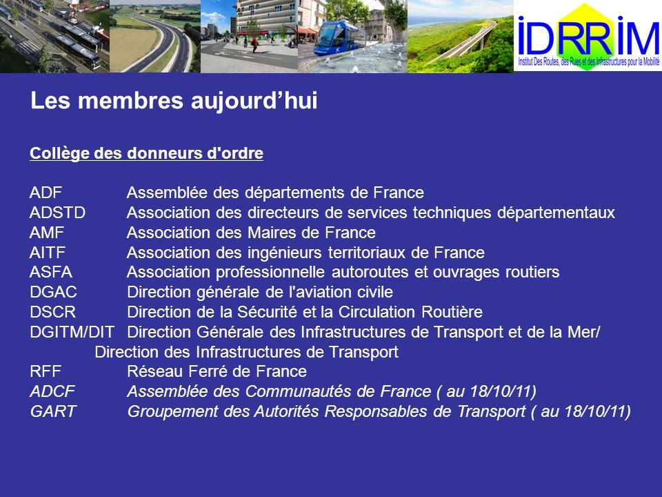 Les membres aujourdhui Collège des donneurs d'ordre ADFAssemblée des départements de France ADSTDAssociation des directeurs de services techniques dép