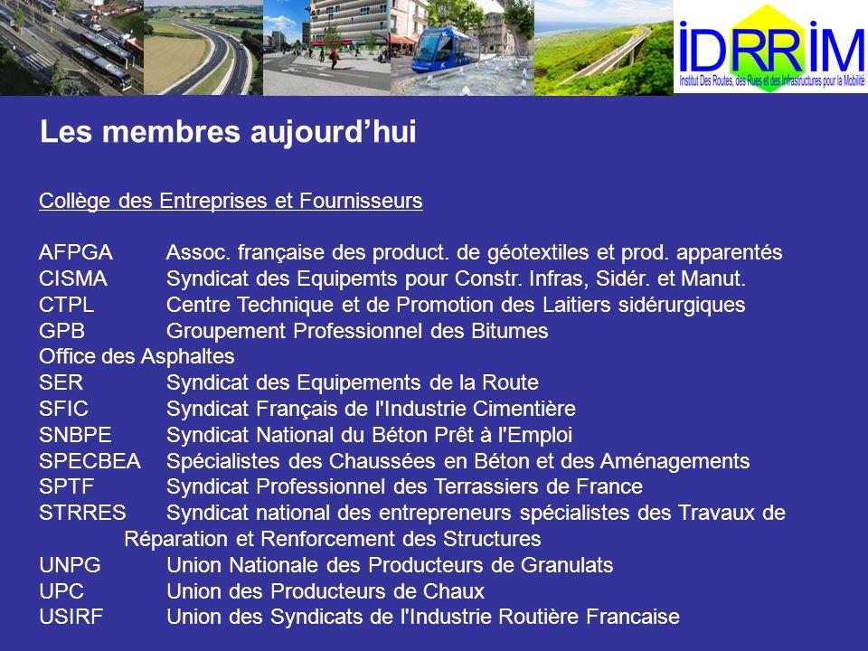 Les membres aujourdhui Collège des Entreprises et Fournisseurs AFPGAAssoc. française des product. de géotextiles et prod. apparentés CISMASyndicat des