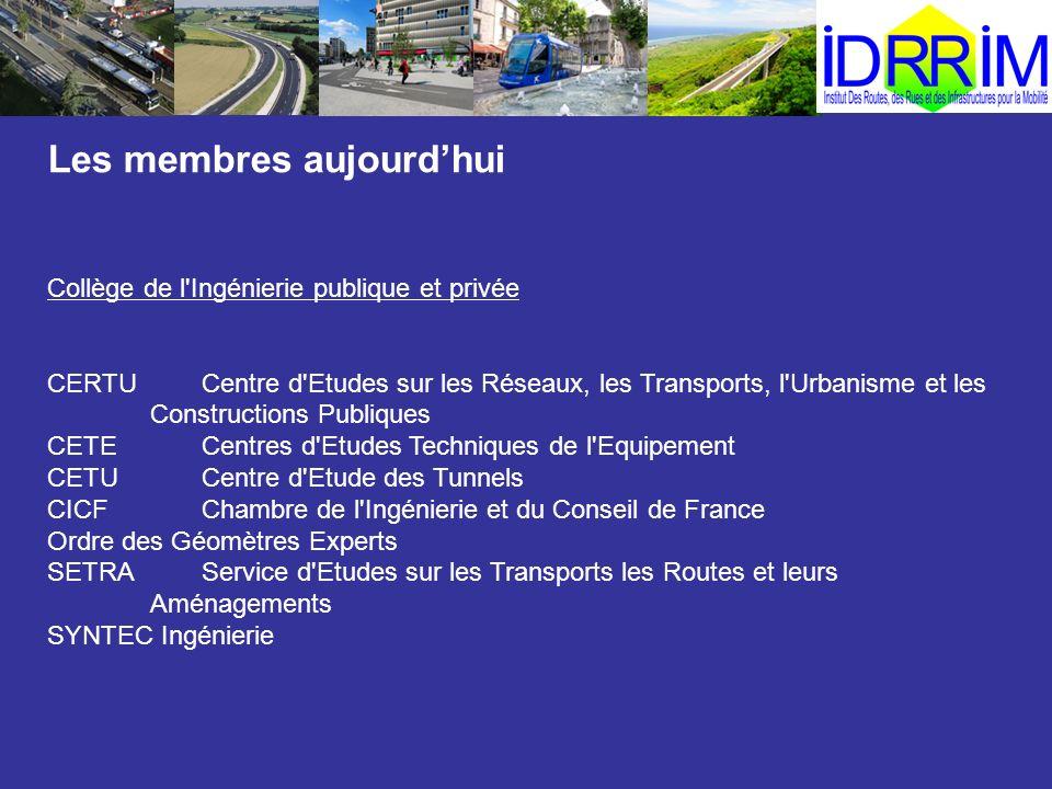 Les membres aujourdhui Collège de l'Ingénierie publique et privée CERTUCentre d'Etudes sur les Réseaux, les Transports, l'Urbanisme et les Constructio