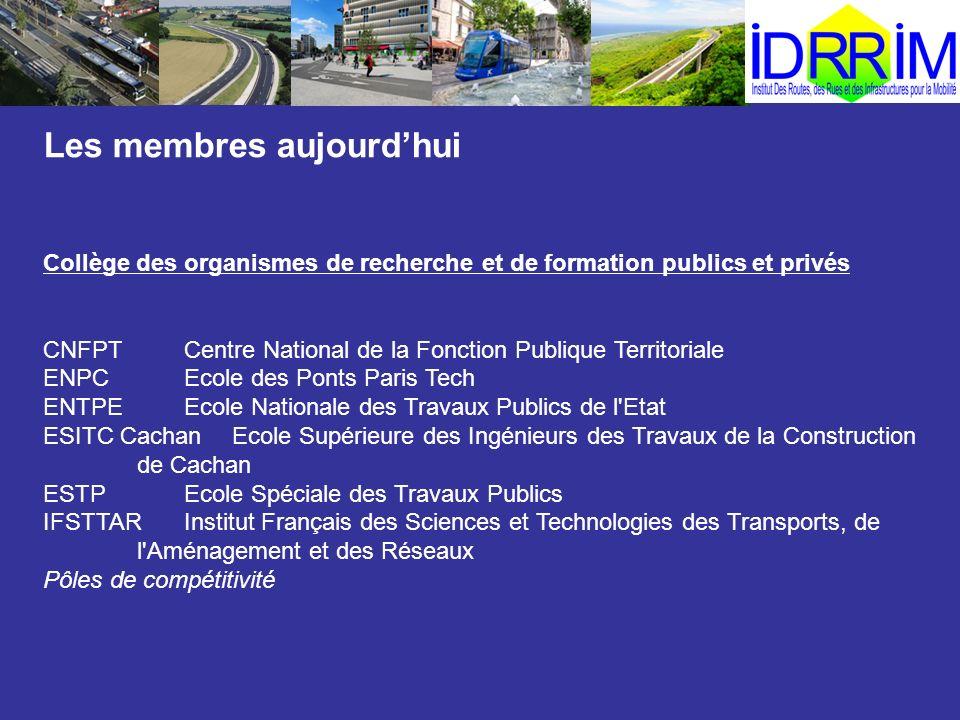 Les membres aujourdhui Collège des organismes de recherche et de formation publics et privés CNFPTCentre National de la Fonction Publique Territoriale