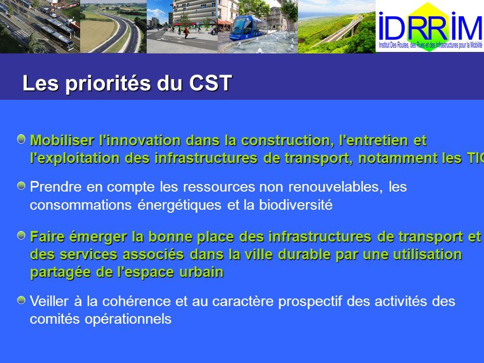 Les priorités du CST Mobiliser l'innovation dans la construction, l'entretien et l'exploitation des infrastructures de transport, notamment les TIC Pr