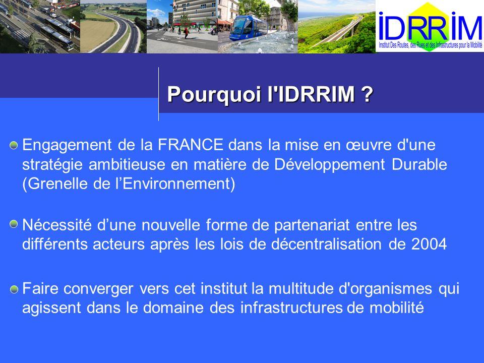 Pourquoi l'IDRRIM ? Engagement de la FRANCE dans la mise en œuvre d'une stratégie ambitieuse en matière de Développement Durable (Grenelle de lEnviron