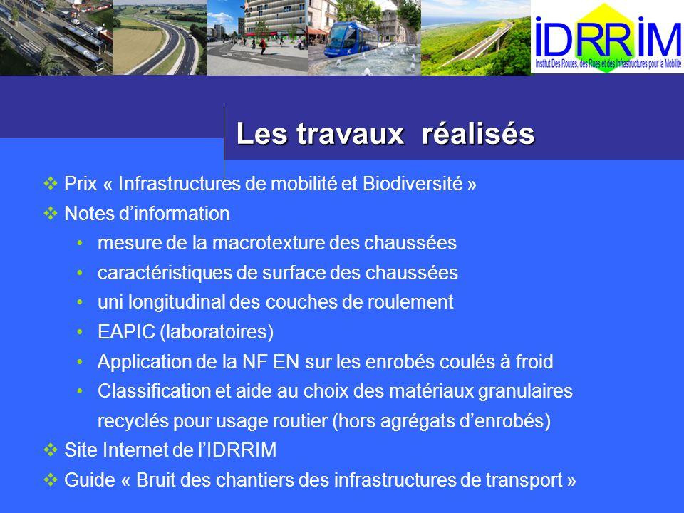 Les travaux réalisés Prix « Infrastructures de mobilité et Biodiversité » Notes dinformation mesure de la macrotexture des chaussées caractéristiques