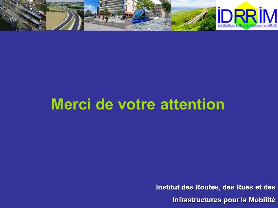 Institut des Routes, des Rues et des Infrastructures pour la Mobilité Merci de votre attention