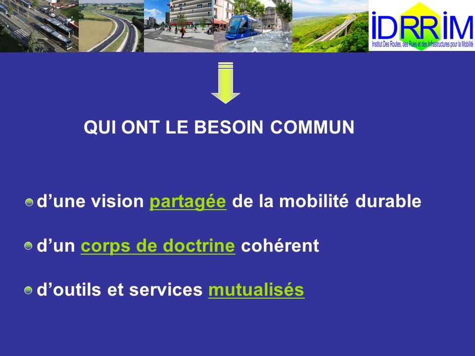 QUI ONT LE BESOIN COMMUN dune vision partagée de la mobilité durable dun corps de doctrine cohérent doutils et services mutualisés