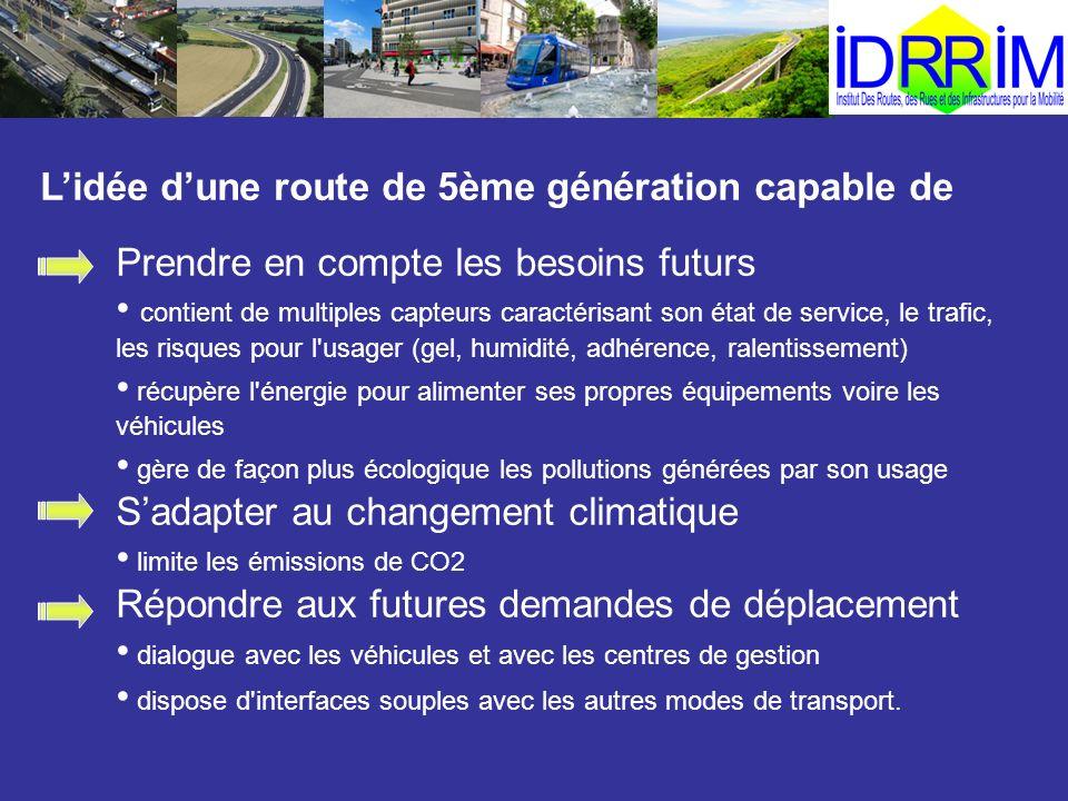 Prendre en compte les besoins futurs contient de multiples capteurs caractérisant son état de service, le trafic, les risques pour l'usager (gel, humi