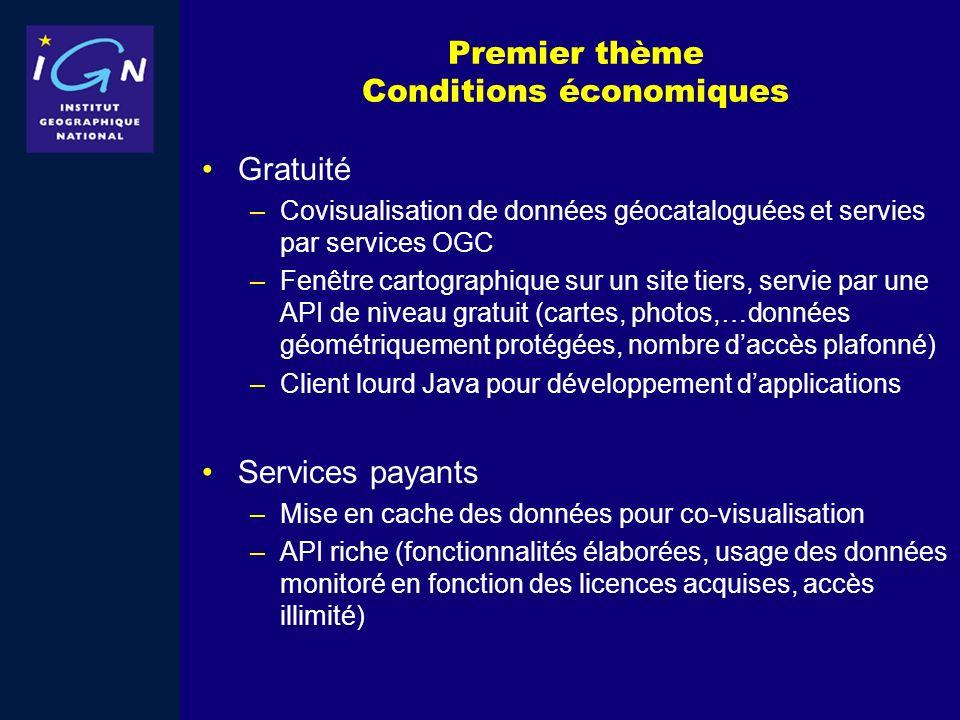 Premier thème Conditions économiques Gratuité –Covisualisation de données géocataloguées et servies par services OGC –Fenêtre cartographique sur un si