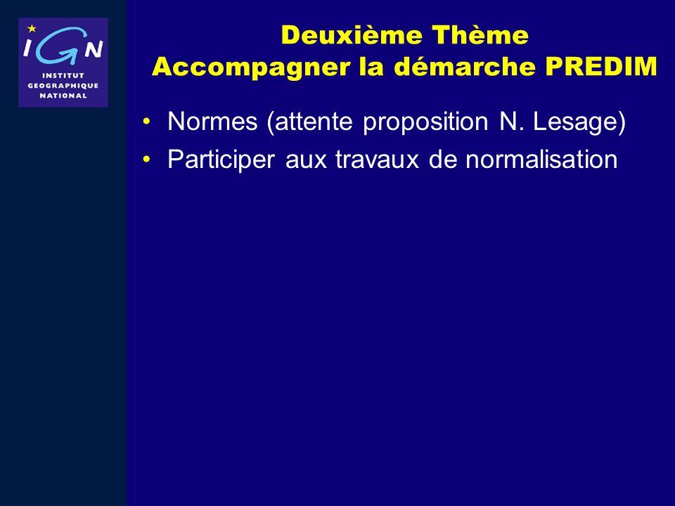 Deuxième Thème Accompagner la démarche PREDIM Normes (attente proposition N. Lesage) Participer aux travaux de normalisation