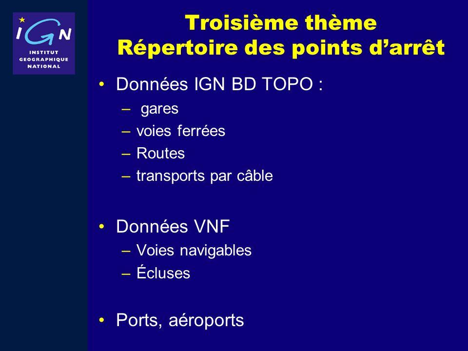 Troisième thème Répertoire des points darrêt Données IGN BD TOPO : – gares –voies ferrées –Routes –transports par câble Données VNF –Voies navigables