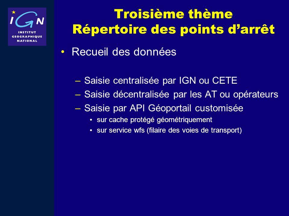 Troisième thème Répertoire des points darrêt Recueil des données –Saisie centralisée par IGN ou CETE –Saisie décentralisée par les AT ou opérateurs –S