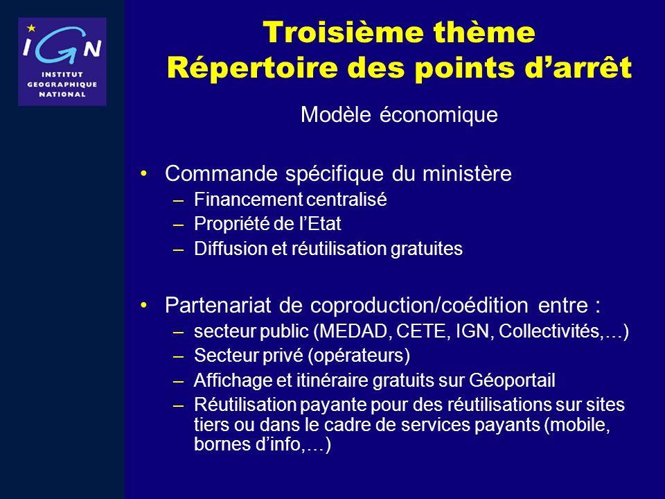 Troisième thème Répertoire des points darrêt Modèle économique Commande spécifique du ministère –Financement centralisé –Propriété de lEtat –Diffusion