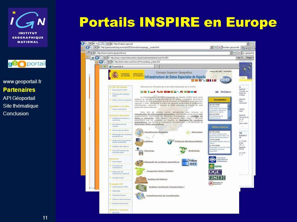 11 Portails INSPIRE en Europe www.geoportail.fr Partenaires API Géoportail Site thématique Conclusion