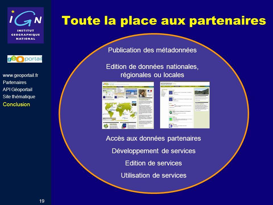 19 Toute la place aux partenaires Accès aux données partenaires Développement de services Edition de services Utilisation de services Publication des