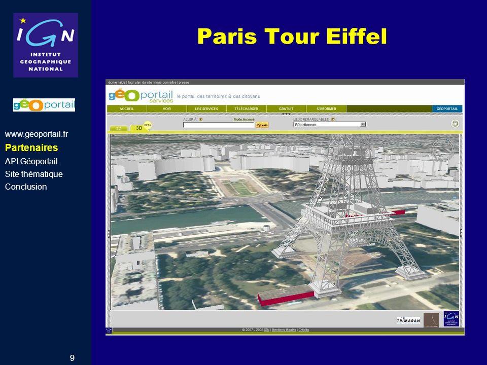 9 Paris Tour Eiffel www.geoportail.fr Partenaires API Géoportail Site thématique Conclusion