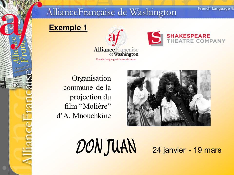 Exemple 1 24 janvier - 19 mars Organisation commune de la projection du film Molière dA. Mnouchkine