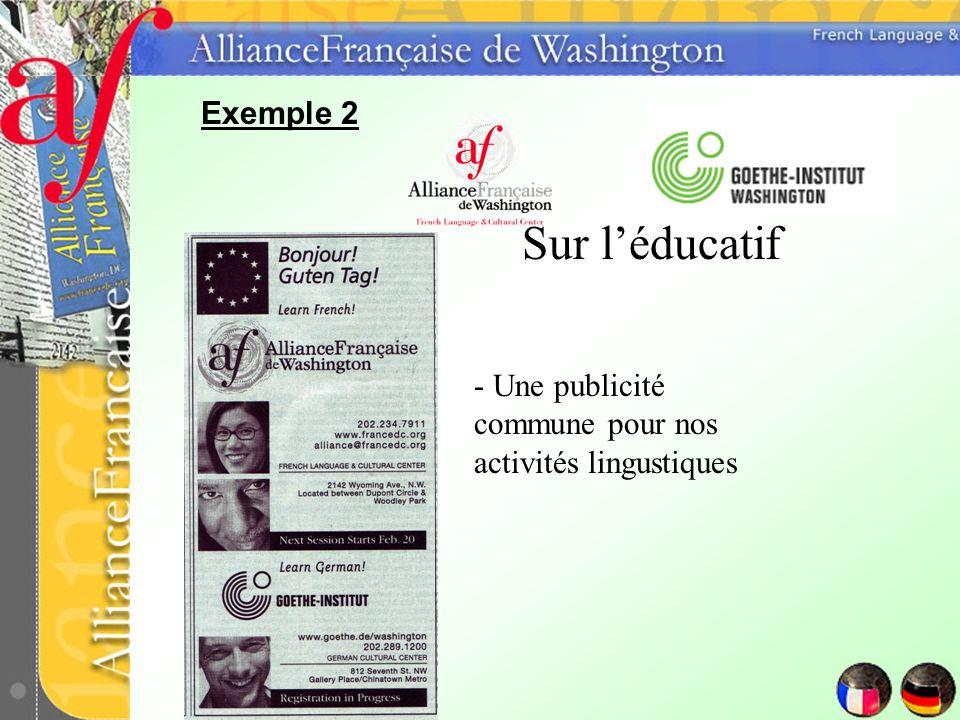 Sur léducatif - Une publicité commune pour nos activités lingustiques
