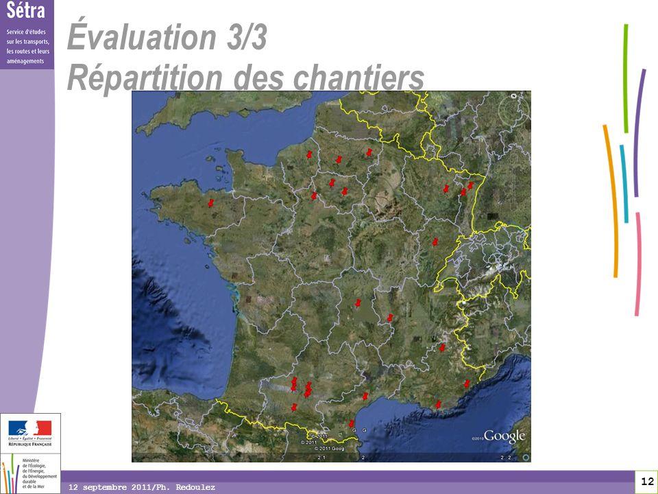 12 12 12 septembre 2011/Ph. Redoulez Évaluation 3/3 Répartition des chantiers