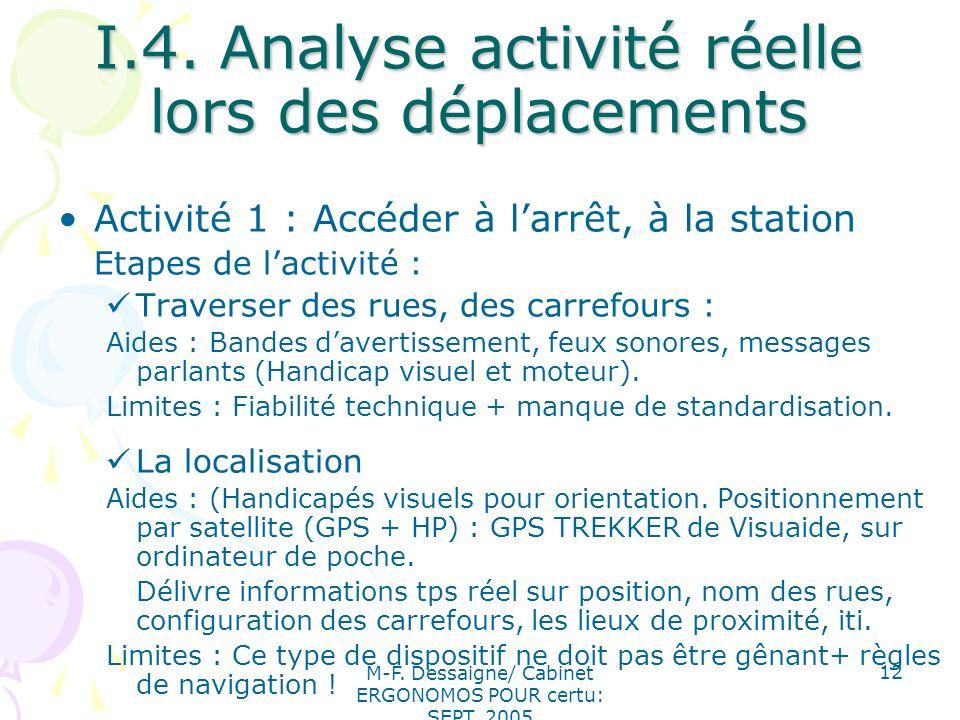 M-F. Dessaigne/ Cabinet ERGONOMOS POUR certu: SEPT. 2005 12 I.4. Analyse activité réelle lors des déplacements Activité 1 : Accéder à larrêt, à la sta